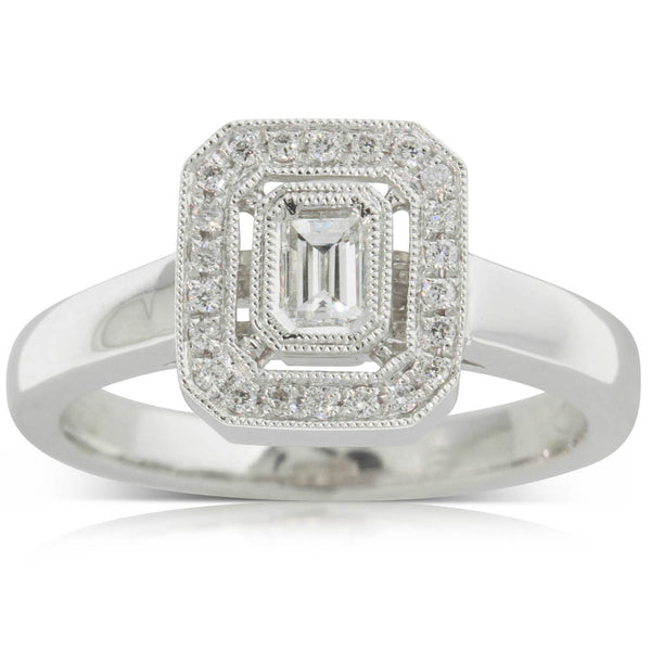18ct White Gold .22ct Diamond Halo Ring - Walker & Hall