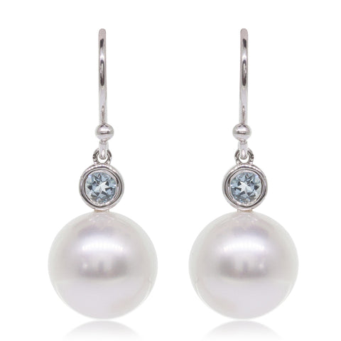 18ct White Gold South Sea Pearl & Aquamarine Drop Earrings - Walker & Hall