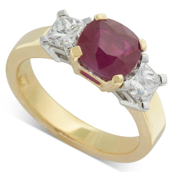 18ct Yellow & White Gold Ruby & Diamond Trilogy Ring - Walker & Hall
