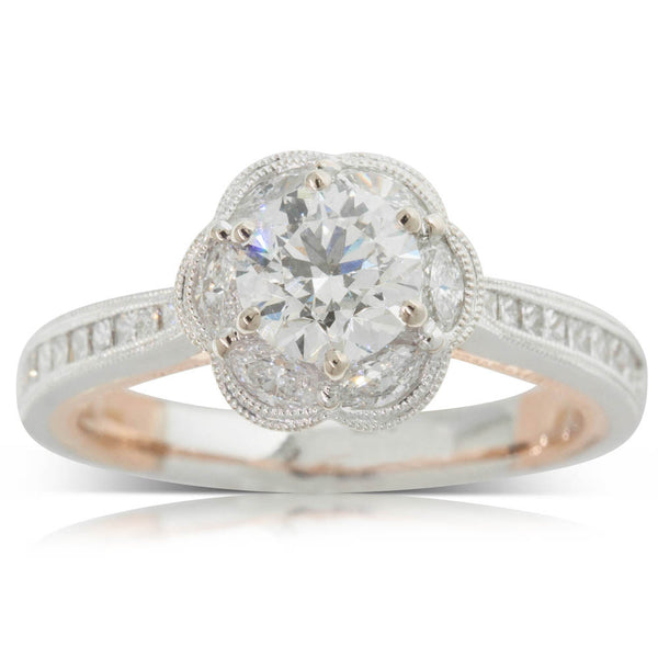 18ct White & Rose Gold .89ct Diamond Ring - Walker & Hall