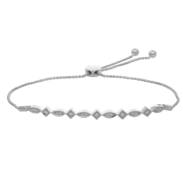 9ct White Gold .12ct Diamond Bolo Bracelet - Walker & Hall