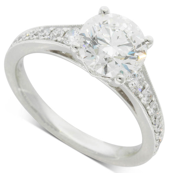 18ct White Gold 2.00ct Diamond Vantage Ring - Walker & Hall