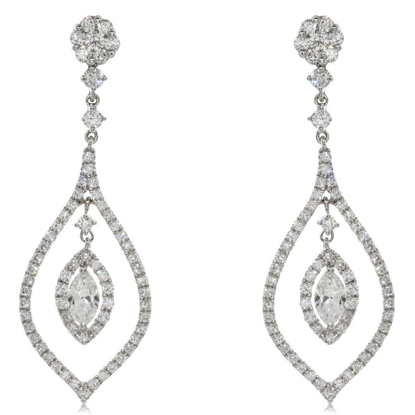 18ct White Gold 1.94ct Diamond Drop Earrings - Walker & Hall