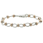 9ct Rose Gold & Sterling Silver Cable & Belcher Bracelet - Walker & Hall