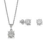 Gift Set - 9ct White Gold Diamond Galaxy Studs & Pendant - Walker & Hall