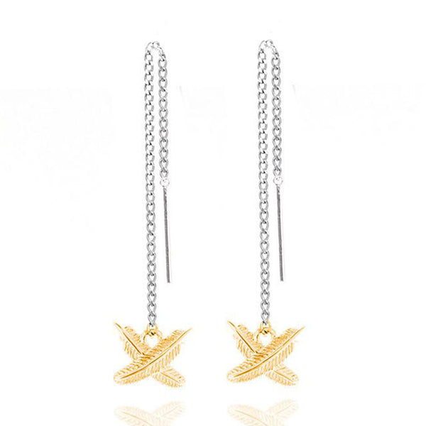 Boh Runga Micro Feather Kisses Thread Earrings - Sterling Silver & 9ct Yellow Gold - Walker & Hall