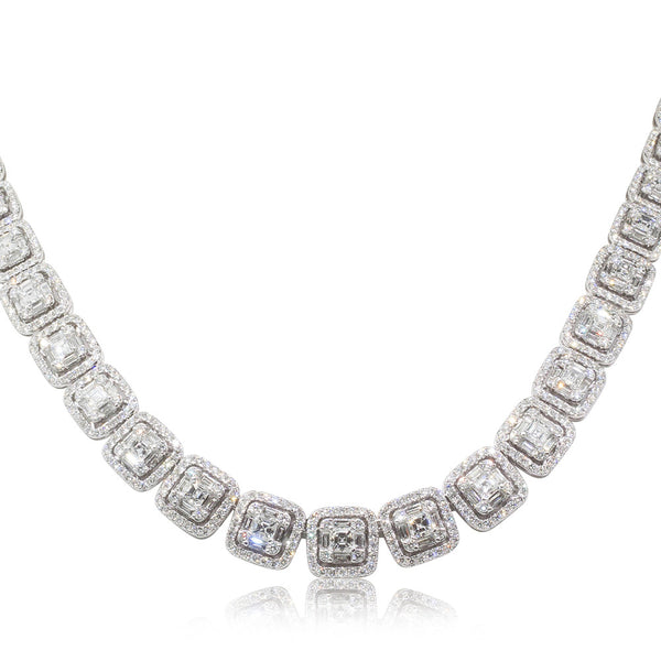 18ct White Gold 17.50ct Diamond Necklace