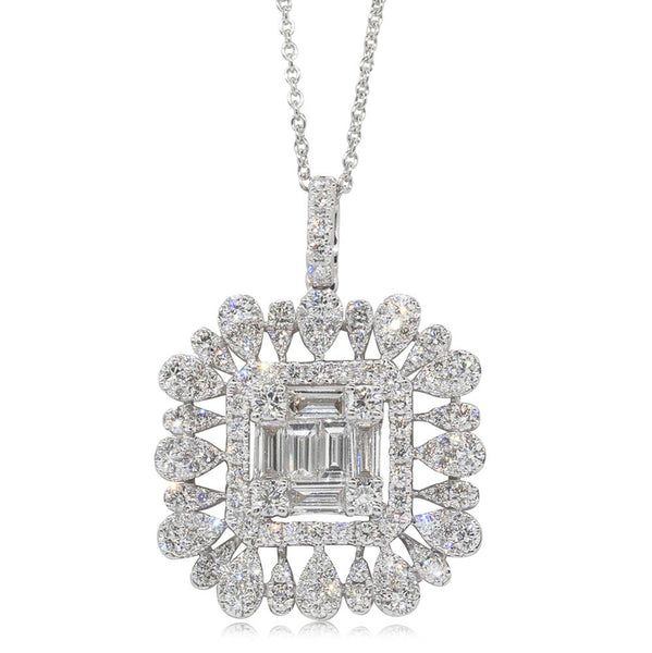 18ct White Gold 2.53ct Diamond Openwork Pendant - Walker & Hall
