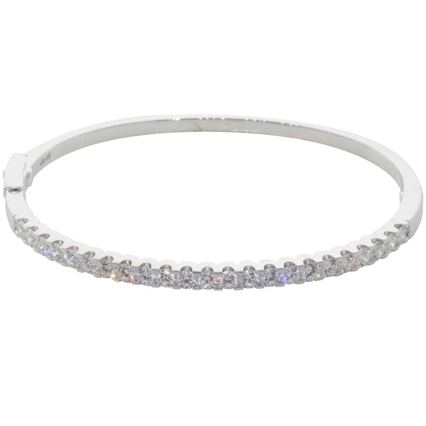 18ct White Gold Diamond Bangle - Walker & Hall