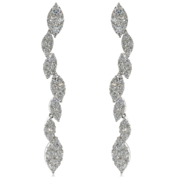 18ct White Gold 2.58ct Diamond Drop Earrings - Walker & Hall
