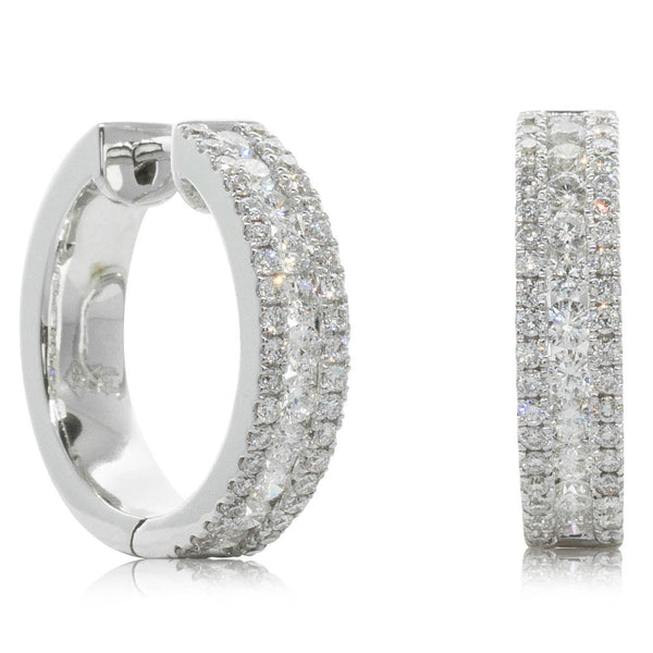 18ct White Gold 1.12ct Diamond Hoop Earrings - Walker & Hall