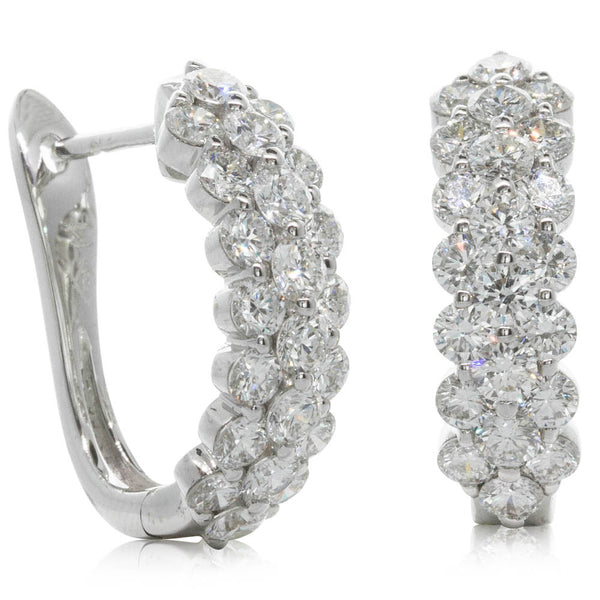 18ct White Gold 2.93ct Diamond Earrings - Walker & Hall