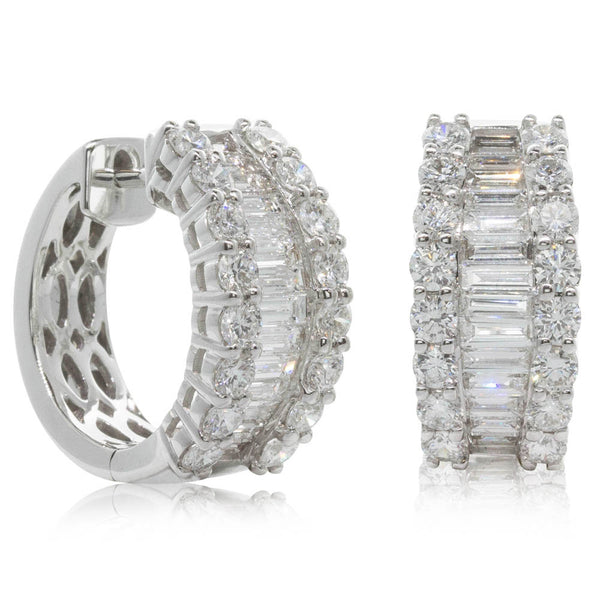 18ct White Gold Diamond Hoop Earrings - Walker & Hall