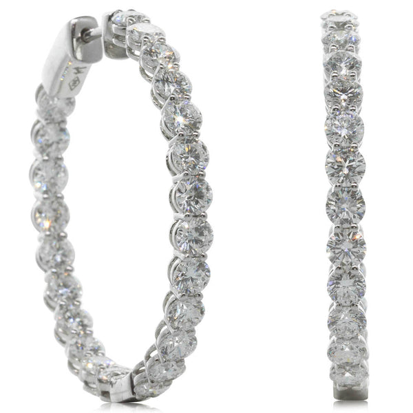 18ct White Gold 6.70ct Diamond Hoop Earrings - Walker & Hall