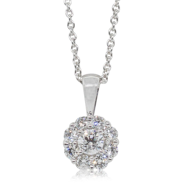 9ct White Gold .50ct Diamond Cluster Necklace - Walker & Hall