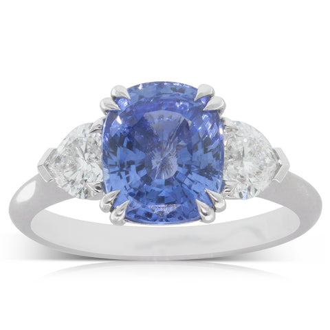 18ct White Gold 3.24ct Sapphire & Diamond Ring - Walker & Hall