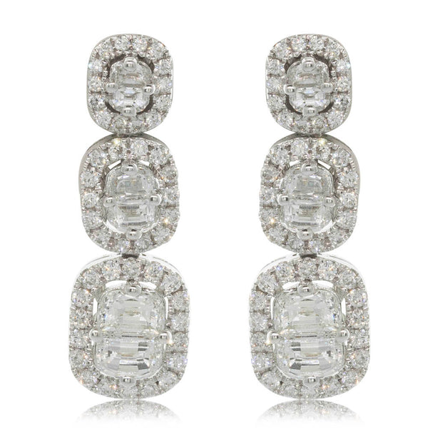 18ct White Gold 1.81ct Diamond Drop Earrings - Walker & Hall