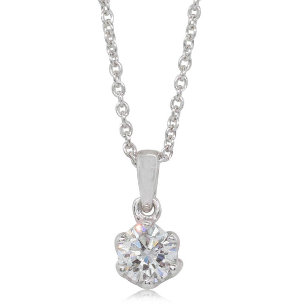 18ct White Gold .42ct Diamond Lily Pendant - Walker & Hall