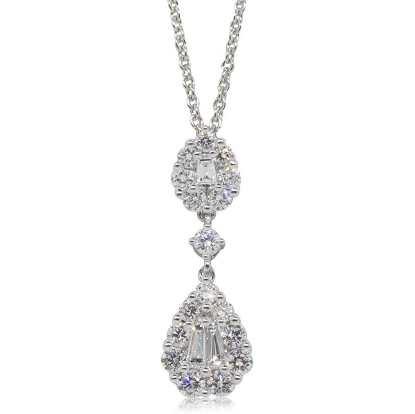 18ct White Gold .71ct Diamond Drop Pendant