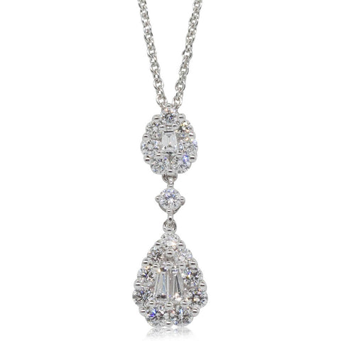 18ct White Gold .68ct Diamond Drop Pendant - Walker & Hall