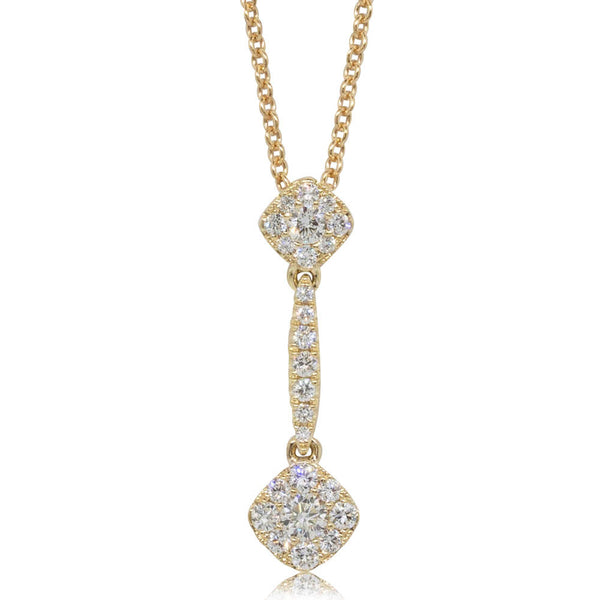 18ct Yellow Gold .34ct Diamond Drop Pendant - Walker & Hall