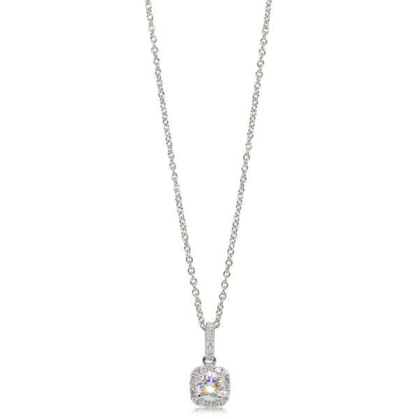 18ct White Gold .30ct Diamond Peony Pendant - Walker & Hall