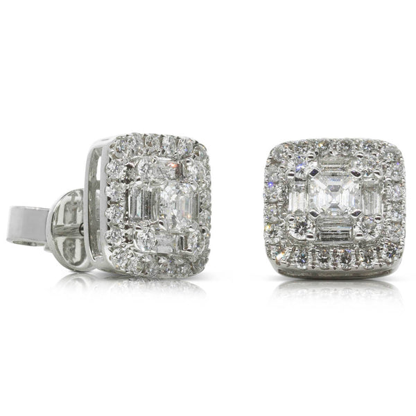 18ct White Gold 1.04ct Diamond Cluster Earrings