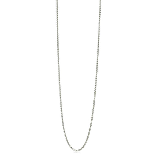 9ct White Gold 1mm Wheat Link Chain