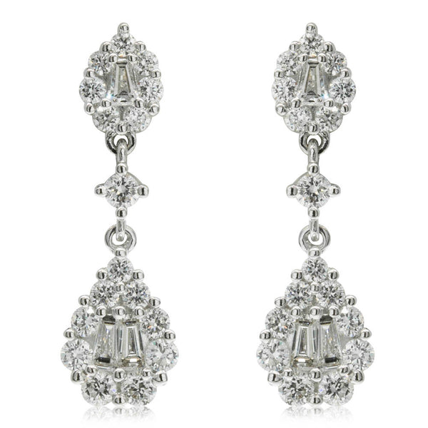 18ct White Gold .62ct Diamond Drop Earrings