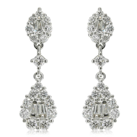 18ct White Gold .62ct Diamond Drop Earrings - Walker & Hall
