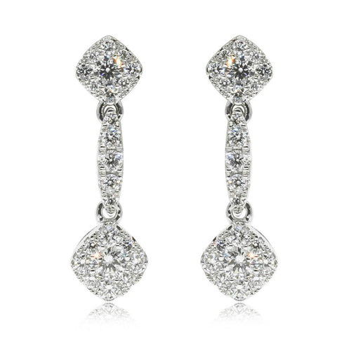 18ct White Gold .43ct Diamond Drop Earrings - Walker & Hall