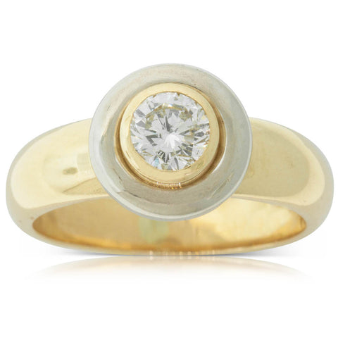 Vintage 18ct Yellow & White Gold .47ct Diamond Solitaire Ring - Walker & Hall