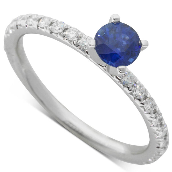 18ct White Gold .54ct Sapphire & Diamond Comet Ring