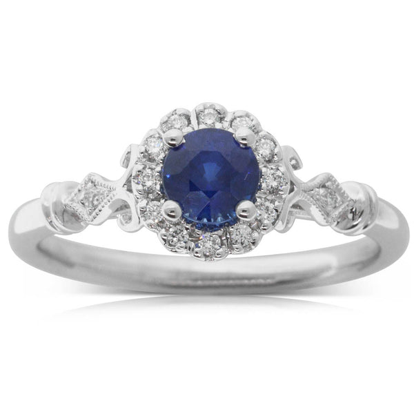 18ct White Gold .68ct Sapphire & Diamond Versaille Ring