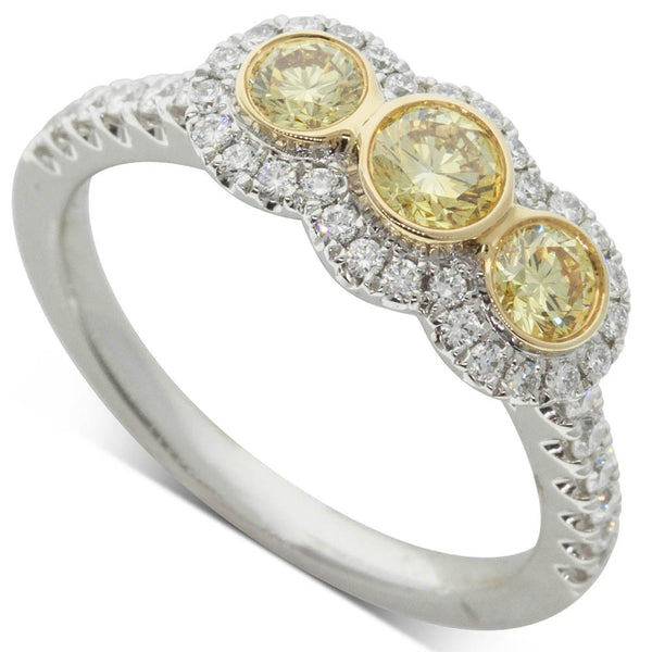 18ct White & Yellow Gold .94ct Yellow Diamond Ring