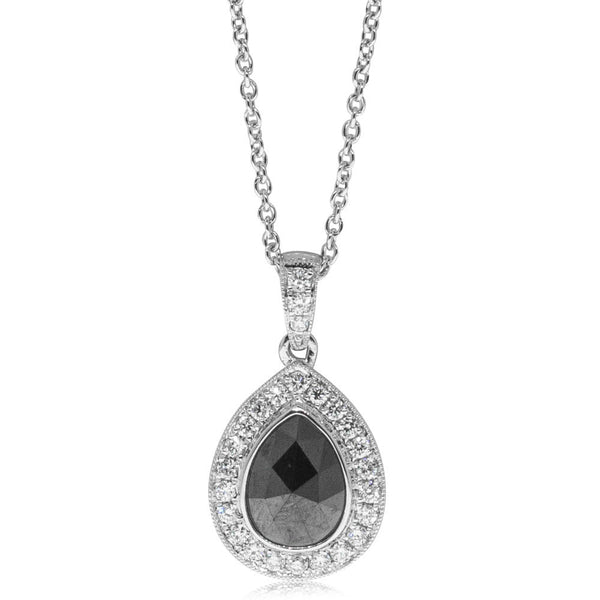 18ct White Gold Black Diamond Halo Pendant - Walker & Hall
