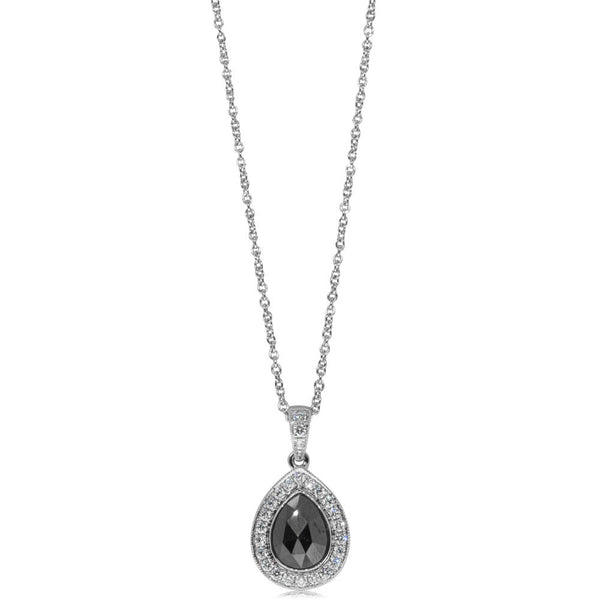 18ct White Gold .82ct Black Diamond Halo Pendant