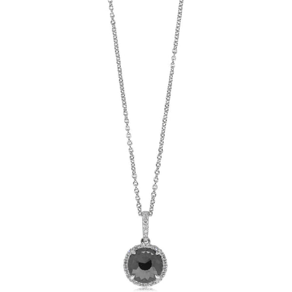 18ct White Gold 1.47ct Black Diamond Halo Pendant