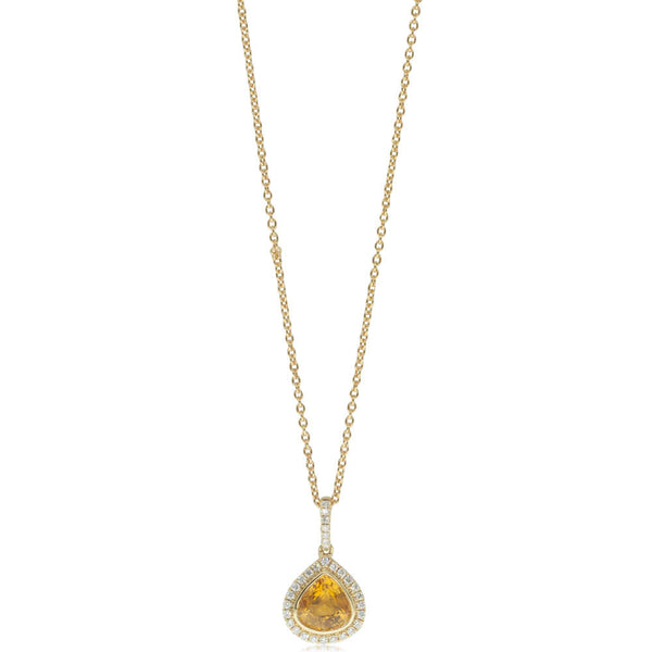 18ct Yellow Gold Sapphire & Diamond Halo Necklace - Walker & Hall