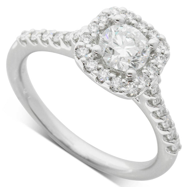 18ct White Gold .60ct Diamond Manhattan Ring