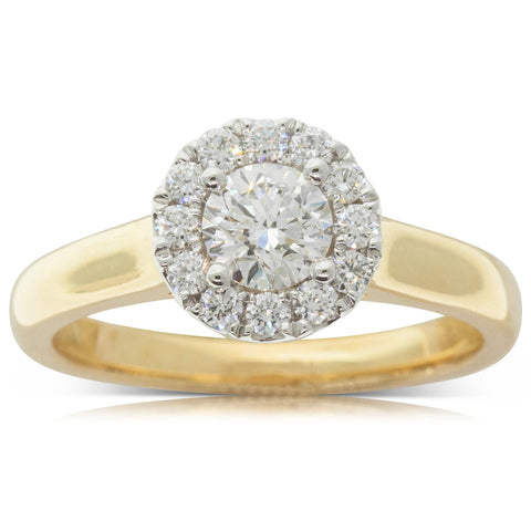 18ct Yellow Gold .50ct Diamond Eclipse Ring - Walker & Hall