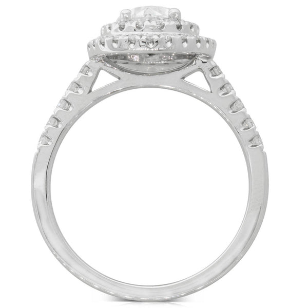18ct White Gold 1.00ct Oval Cut Diamond Halo Ring