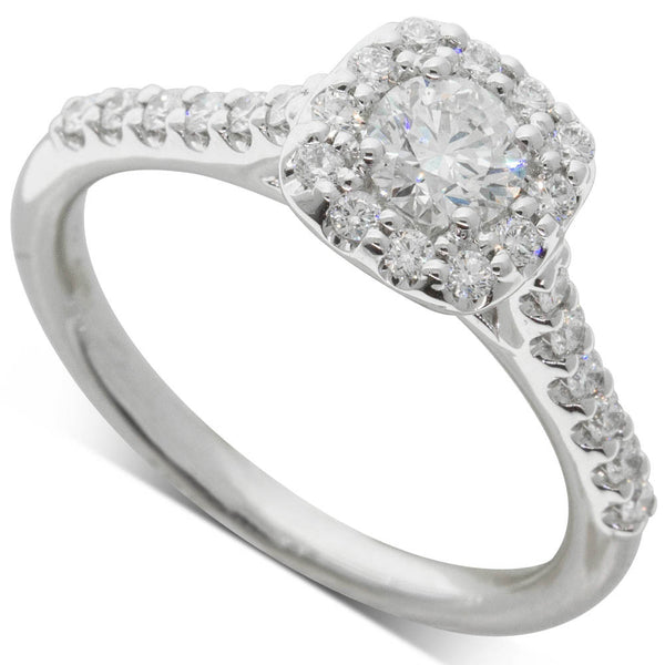 18ct White Gold .40ct Diamond Manhattan Ring