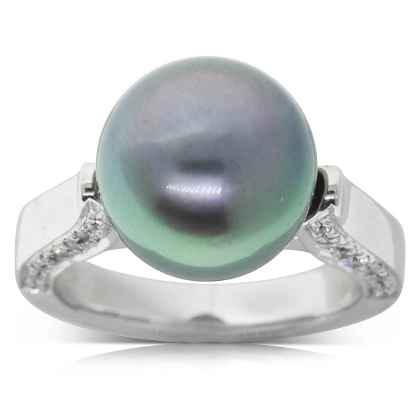 18ct White Gold Pearl & Diamond Ring - Walker & Hall