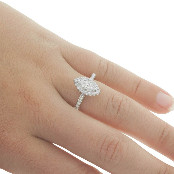18ct White Gold .54ct Marquise Cut Diamond Halo Ring - Walker & Hall