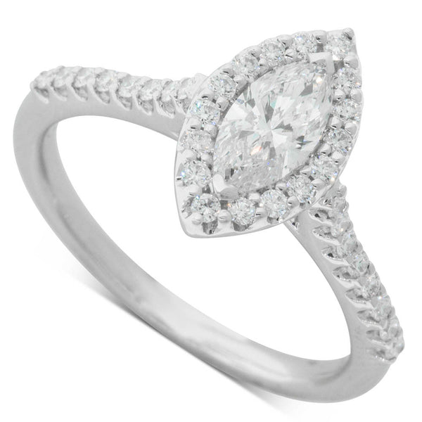 18ct White Gold Marquise Cut Diamond Halo Ring - Walker & Hall