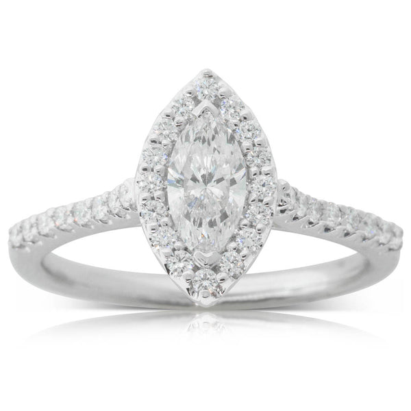 18ct White Gold .54ct Marquise Cut Diamond Halo Ring