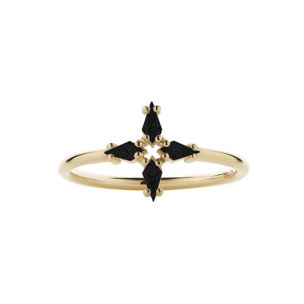 Meadowlark Astral Ring - 9ct Yellow Gold & Onyx - Walker & Hall