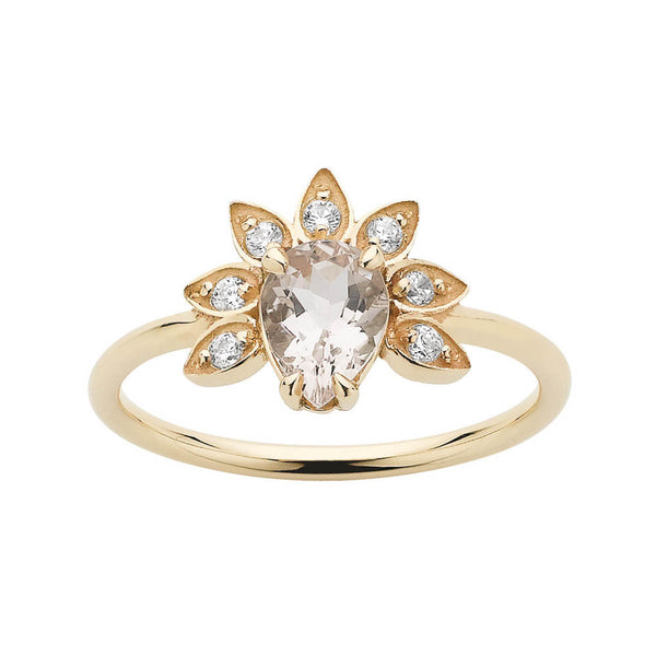 Meadowlark Morganite & Diamond Petal Ring - 9ct Yellow Gold