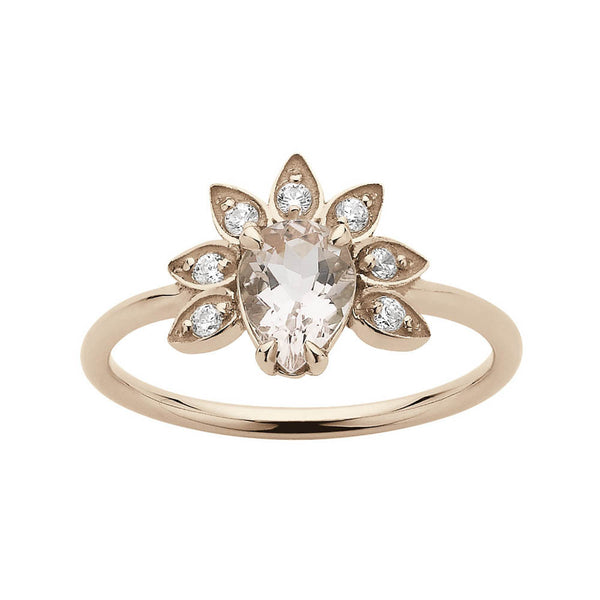 Meadowlark Morganite & Diamond Petal Ring - 9ct Rose Gold